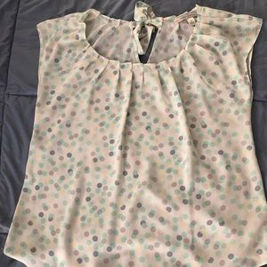 LC Lauren Conrad pleated blouse cream and dots